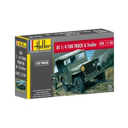 HELLER 81105 1/35 Jeep Willis +remorque