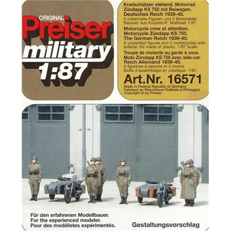 PREISER 16571 HO 1/87 Motorcycle Crew at Attention