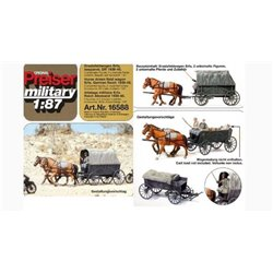 PREISER 16588 HO 1/87 Chevaux – Horse Drawn Field Wagon