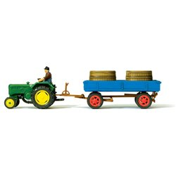 PREISER 17943 HO 1/87 Farm tractor Lanz D 2416, trailer with tubs for grapes