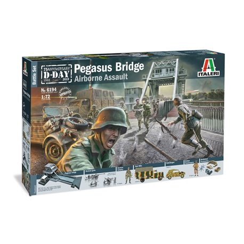 ITALERI 6194 1/72 Pegasus Bridge D.Day 75 years 1944-5019 Battle Set