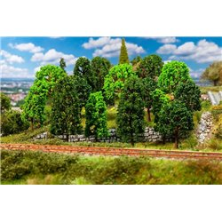 FALLER 181524 HO 1/87 15 Deciduous trees, assorted