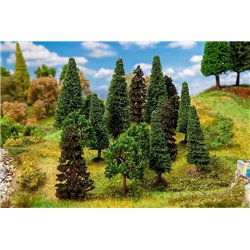 FALLER 181529 HO 1/87 15 Mixed forest trees, assorted