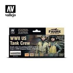 VALLEJO 70.186 Model Color Set WWII US Tank Crew 8 color set 17 ml.