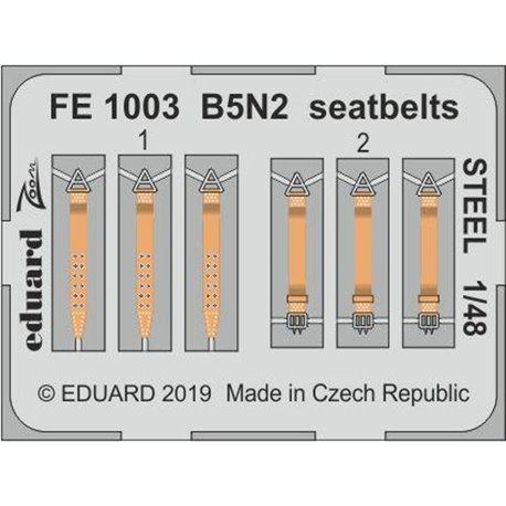 EDUARD FE1003 1/48 Photo Etched B5N2 seatbelts STEEL for Hasegawa
