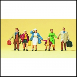 Preiser 10281 Figurines HO 1/87 La famille Dupont part en voyage
