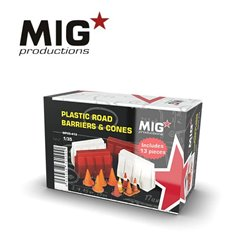 MIG PRODUCTIONS MP35-413 1/35 PLASTIC ROAD BARRIERS & CONES 13pcs