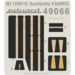 EDUARD 49066 Photo Etched 1/48 Bf 109F/ G seatbelts FABRIC For Eduard