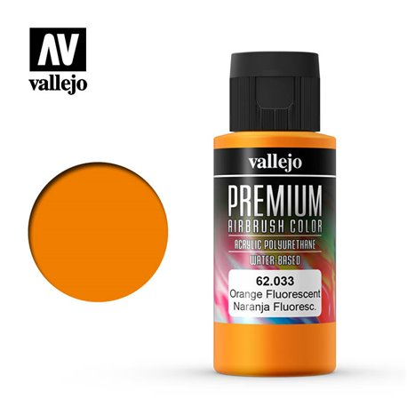 Vallejo 62.033 Premium Airbrush Color Orange Fluo 60ml