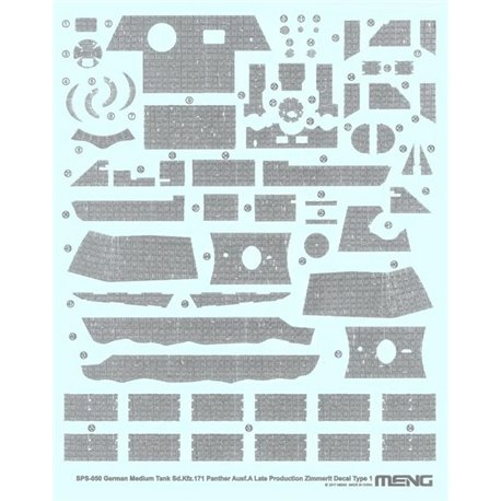 MENG SPS-050 1/35 German Medium Tank Sd.Kfz.171 Panther Ausf.A Late Producti.Zimmerit Decal A