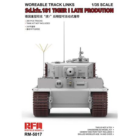 RYE FIELD MODEL RM-5017 1/35 Workable Track Links for Tiger I Late