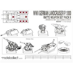 MODELCOLLECT UA72310 1/72 WWII Germany Landcruiser p.1000 ratte weapon set pack II
