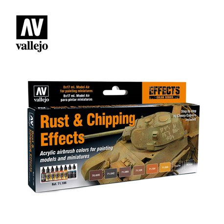 VALLEJO 71.186 Model Air Set Rust & Chipping Effects (8) Effects 8 Color Set 17 ml.