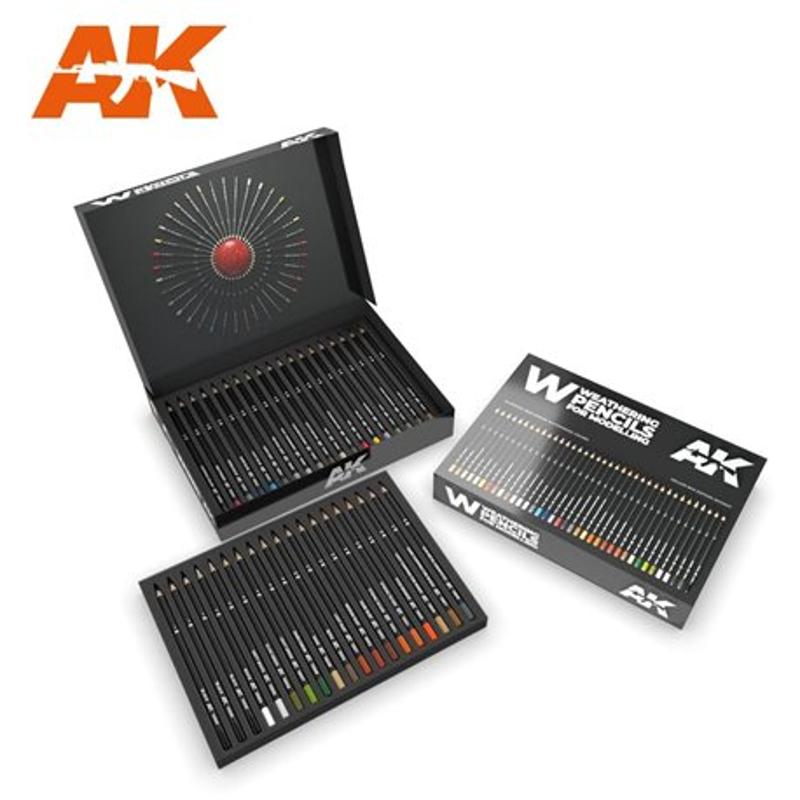 AK INTERACTIVE AK10047 Weathering Pencils Deluxe Edition Box (37 Waterperncil Colors)