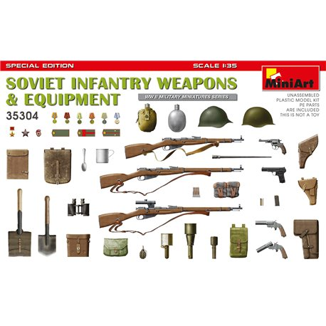 MINIART 35304 1/35 Soviet Infantry Weapons and Equipment. Special Edition