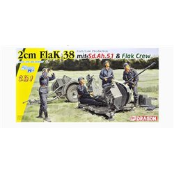 DRAGON 6942 1/35 2cm FlaK 38 Early/Late Production mit Sd.Ah.51 and Crew (2 in 1)
