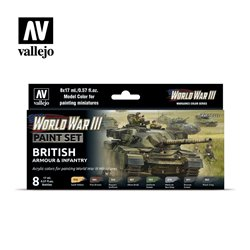VALLEJO 70.222 WWIII British Armour & Infantry 8x17ml
