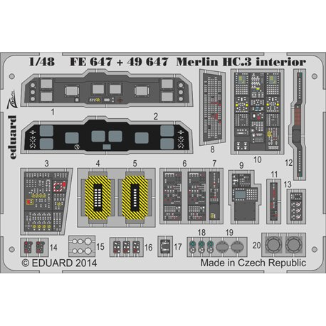 EDUARD FE647 1/48 Photo Etched Merlin HC.3 interior S. A. For Airfix