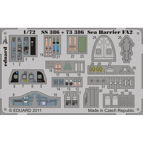 EDUARD SS386 1/72 Photo Etched Sea Harrier FA2 S. A. For Airfix