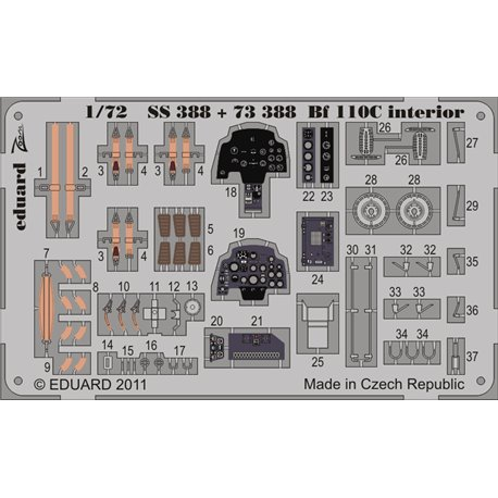 EDUARD SS388 1/72 Photo Etched Bf 110C interior S. A. For Airfix
