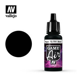 VALLEJO 72.751 Game Air Black Color 17 ml.