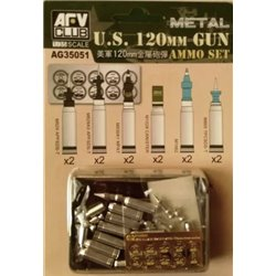 AFV CLUB AG35051 1/35 US M1A1/M1A2 M256 120mm Ammo set(Aluminum)