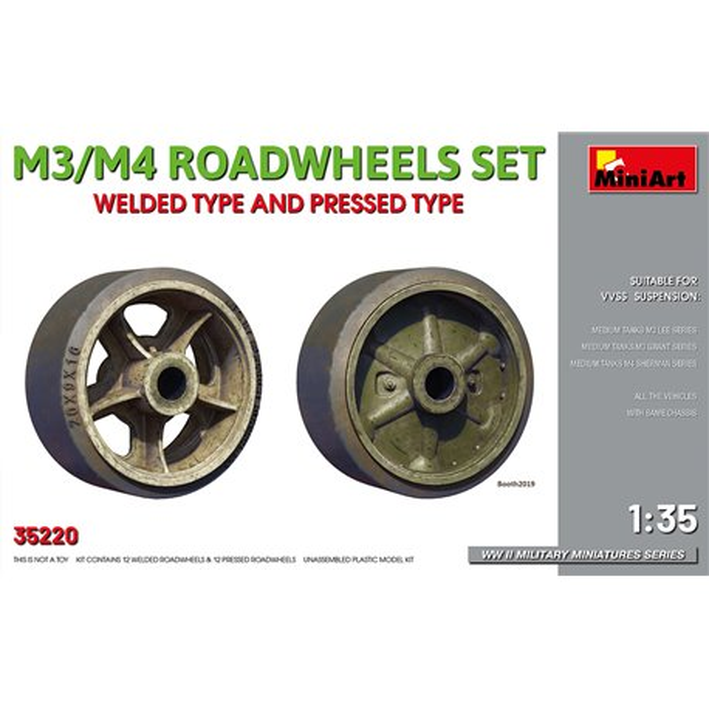 MINIART 35220 1/35 M3/M4 ROADWHEELS SET. WELDED TYPE AND PRESSED TYPE