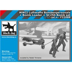 BLACK DOG F32088 1/32 WW II Luftwaffe Bombenpersonal + b.loader +SC250 set