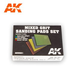 AK INTERACTIVE AK9021 MIXED GRIT SANDING PADS SET 4 UNITS.