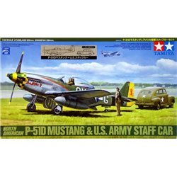 TAMIYA 89732 1/48 North American P-51D Mustang & U.S. Army Staff Car