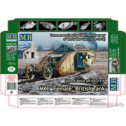 "MASTERBOX MB72002 1/72 Somme Battle period, 1916 MK I ""Female"" British Tank"