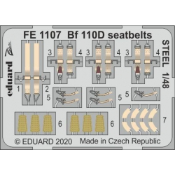 EDUARD FE1107 1/48 Bf 110D seatbelts STEEL