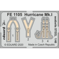 EDUARD FE1105 1/48 Hurricane Mk.I seatbelts STEEL
