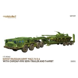 MODELCOLLECT UA72329 1/72 Soviet/Russian Army MAZ-7410-6 with ChMZAP-9990 semi-trailer and T-64 MBT