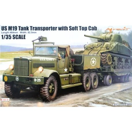 MERIT 63502 1/35 U.S. M19 Tank Transporter with Soft Top Cab