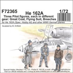 CMK F72365 1/72 He 162-Three Pilot figures,each i.different gear:Great Coat,Flying Suit,Breeches