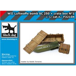 BLACK DOG F32104 1/32 WW II Luftwaffe bomb SC 250 + crate box N1