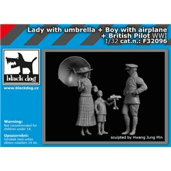 BLACK DOG F32096 1/32 Lady with umbrella, a boy with an aeroplane & British pilot WWI