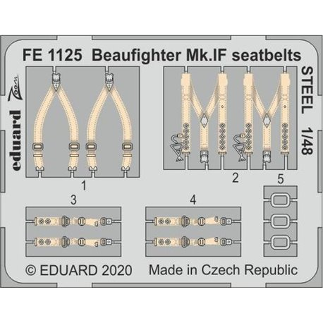 EDUARD FE1125 1/48 Beaufighter Mk.IF seatbelts STEEL