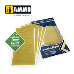 AMMO BY MIG A.MIG-8045 MASKING SHEETS 1mm GRID. x5 SHEETS. 290x145mm (Adhesive)