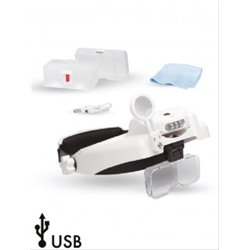 LIGHTCRAFT LC1769USB Professional LED Headband Magnifier With Bi-Plate Magnification & Loupe
