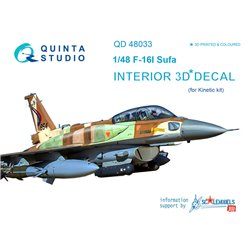 QUINTA STUDIO QD48033 1/48 F-16I 3D-Printed & coloured Interior on decal paper (for Kinetic kit)