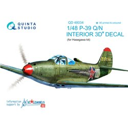 QUINTA STUDIO QD48034 1/48 P-39Q/N 3D-Printed & coloured Interior on decal paper (for Hasegawa kit)