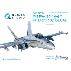 QUINTA STUDIO QD48040 1/48 F/A-18C (late) 3D-Printed & coloured Interior on decal paper (for Kinetic kit)