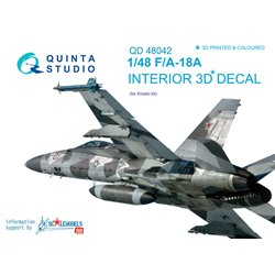 QUINTA STUDIO QD48042 1/48 F/A-18A 3D-Printed & coloured Interior on decal paper (for Kinetic kit)