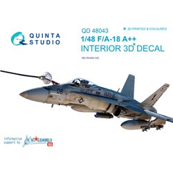 QUINTA STUDIO QD48043 1/48 F/A-18A++ 3D-Printed & coloured Interior on decal paper (for Kinetic kit)