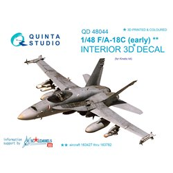 QUINTA STUDIO QD48044 1/48 F/A-18 ++ (early) 3D-Printed & coloured Interior on decal paper (for Kinetic kit)