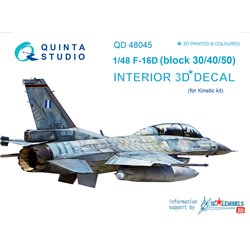QUINTA STUDIO QD48045 1/48 F-16D (block 30/40/50) 3D-Printed & coloured Interior on decal paper (for Kinetic kit)