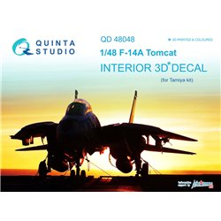 QUINTA STUDIO QD48048 1/48 F-14A 3D-Printed & coloured Interior on decal paper (for Tamiya kit)