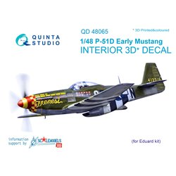 QUINTA STUDIO QD48065 1/48 P-51D (Early) 3D-Printed & coloured Interior on decal paper (for Eduard kit)